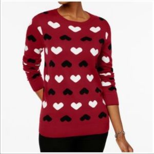 Charter Club Hearts Sweater Size M